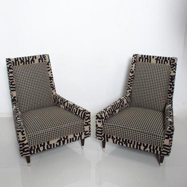 Gio Ponti Style by Arturo Pani Wild Wingback Lounge Chairs Midcentury Pair 1969 by AMBIANIC