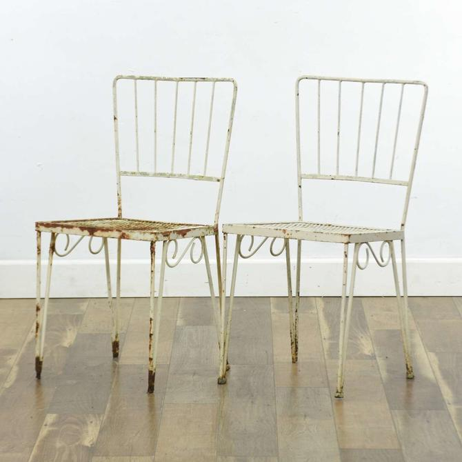 Pair White Metal Patio Chairs