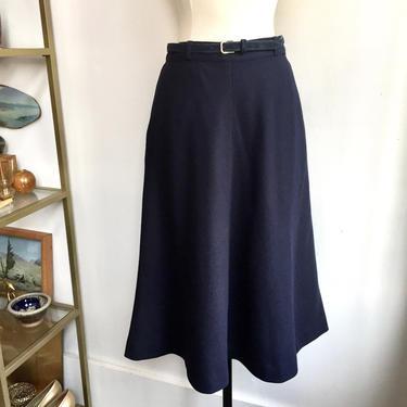 Vintage 70's Minimalist EVAN PICONE Navy Wool Skirt / SUEDE Belt + Pockets + Lined / M by CharmVintageBoutique