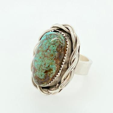 Artisan Southwestern Green Turquoise Sterling Silver Ring Brown Matrix Rope Sz 5 by HouseofVintageOnline
