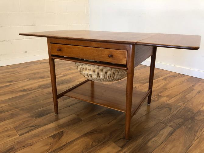 Hans J Wegner Mid Century Teak Sewing Table by Vintagefurnitureetc