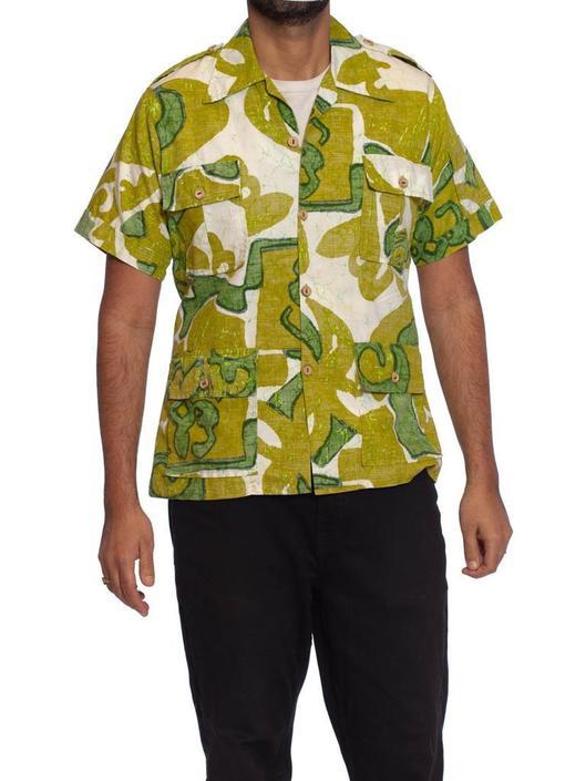 1960S Green  White Cotton Mens Tropical Safari Shirt Made In Hawaii by SHOPMORPHEW