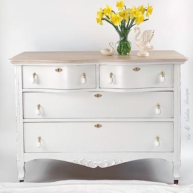SOLD**White Farmhouse Dresser / Bureau / Chest Of Drawers / Antique / Modern Farmhouse / Coastal / Beachy / Entryway / Dining Room / Bedroom by VivAndVioletsDesigns