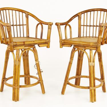 Ficks Reed Style Mid Century Bamboo Rattan Bar Stools - Pair - mcm by ModernHill