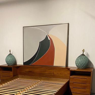 Abstract Original Painting, Vintage Signed Art, Mid Century Wall Art, Retro Painting, Mid Century Art, Mid Century Home Decor by VivaLaVintagedotTX