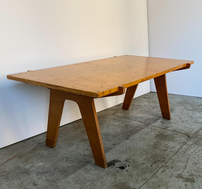 Architectonic Cut Plywood Mid-Century Cocktail Table