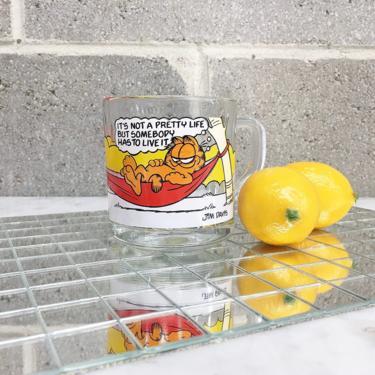 Vintage Garfield Mug Retro 1970s McDonalds + Clear Glass + Jim Davis + Comic + Odie + Animated Cartoon + Coffee Cup + Home and Kitchen Decor by RetrospectVintage215