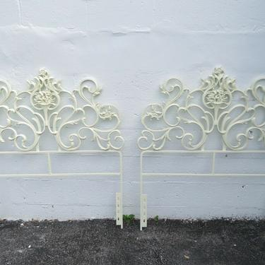 French Carved Painted Metal Pair Twin Size of Headboards 2171