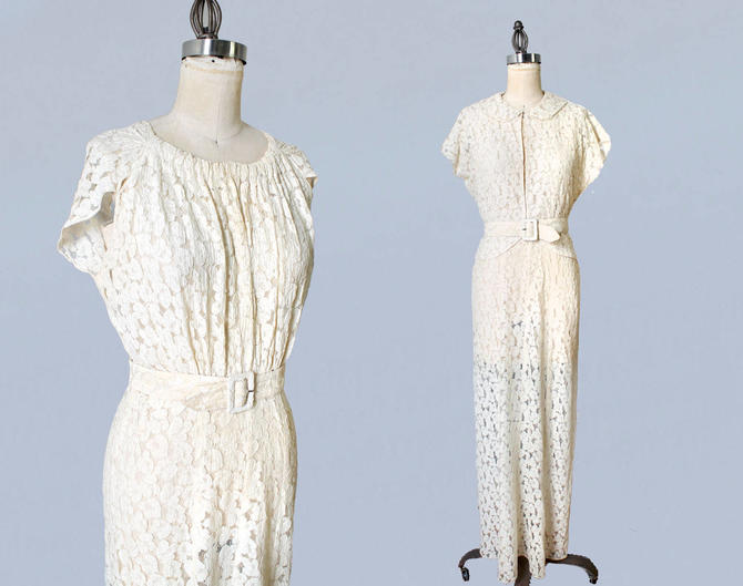 1930s Wedding Dress / 30s Lace Gown and Matching Jacket / Bridal Gown and Top / Super Flattering / L by GuermantesVintage