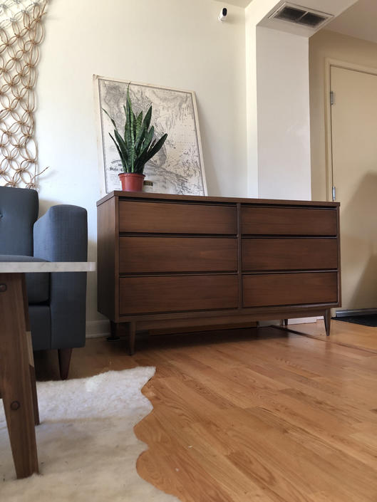 Mid Century Modern Walnut Dresser by BigWhaleConsignment