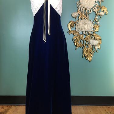 1960s maxi dress, vintage 60s dress, royal blue velvet, medium, hostess gown, holiday dress, open back, retro dress, 36 38 bust, mod formal by BlackLabelVintageWA