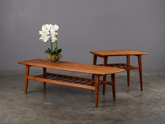 Mid Century Coffee Table and End Table Set Danish Modern Teak by MadsenModern