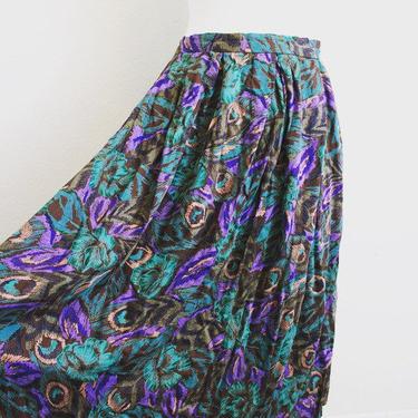 Vintage handmade peacock print full pocketed midi skirt. by MamaTequilasVintage