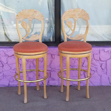 Vintage Italian Floral Back Carved Wood  Bar Stools A  Pair . by MIAMIVINTAGEDECOR