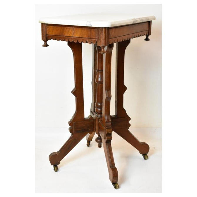 Victorian Marble Top Side End Occasional Table on Casters by BigWhaleConsignment