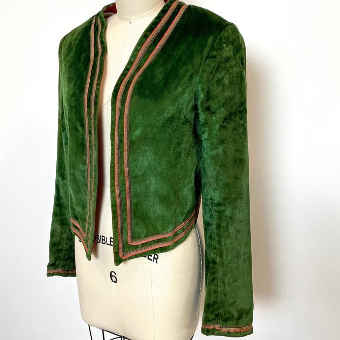 Vintage 1920s Theatre Costume Jacket Hooker Howe Haverhill MA Forest Green Panné Velvet by littlestarsvintage