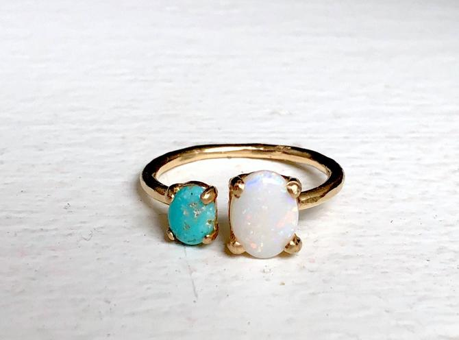 Opal and Turquoise Dual Stone Ring in 14k Yellow Gold Handmade Double stone Ring by RachelPfefferDesigns