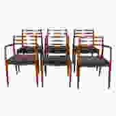 Set of 6 Niels M\u00f8ller Upholstered Dining Chairs 2 Arm (Model #62) + 4 Side (Model #78)