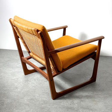Hans Olsen Juul Kristiansen Teak Cane Lounge Chair by 20cModern