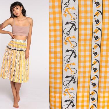 70s Nautical Skirt Anchor Novelty Print Midi Boat High Waisted Yellow Sailor Skirt Vintage Flared Skirt Medium by ShopExile