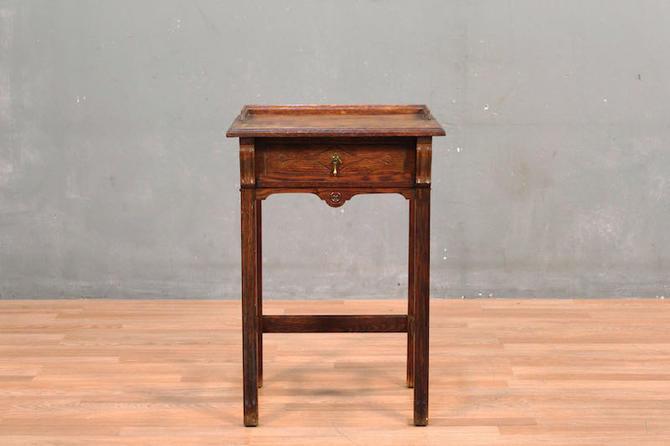Slim Oak Drop-Front Side Table