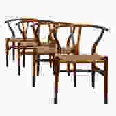 """Set of 4 Danish Modern """"Wishbone"""" Dining Chairs by Hans Wegner"""