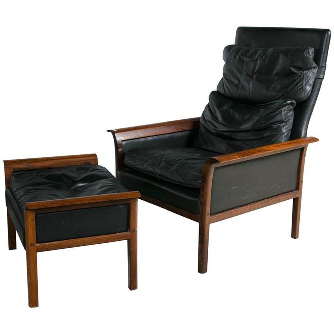 Hans Olsen Danish Rosewood and Leather High Back Lounge Chair and Ottoman