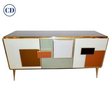Bespoke Italian Black Cream Green Ochre Geometric Postmodern Cabinet/Sideboard