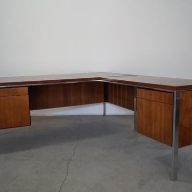 1960's Mid-century Modern Two Piece Executive L-Shaped Desk by CyclicFurniture