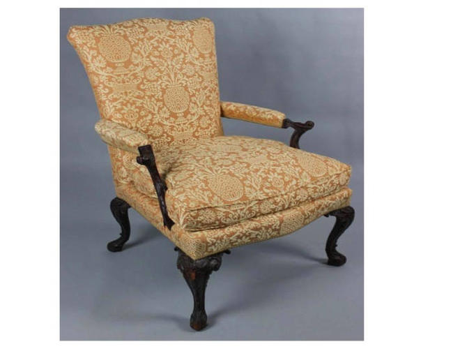 Georgian Style Arm Chair, Upholstered in Gold/Yellow fabric, Free Springfield/Alexandria VA Pick up (Shipping Optional/Extra) by RustandRefind