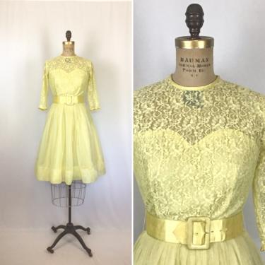Vintage 50s dress | Vintage yellow lace chiffon fit and flare dress | 1950s sunshine yellow party dress by BeeandMason