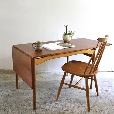 Swedish Drop Leaf Desk in Teak & Beech