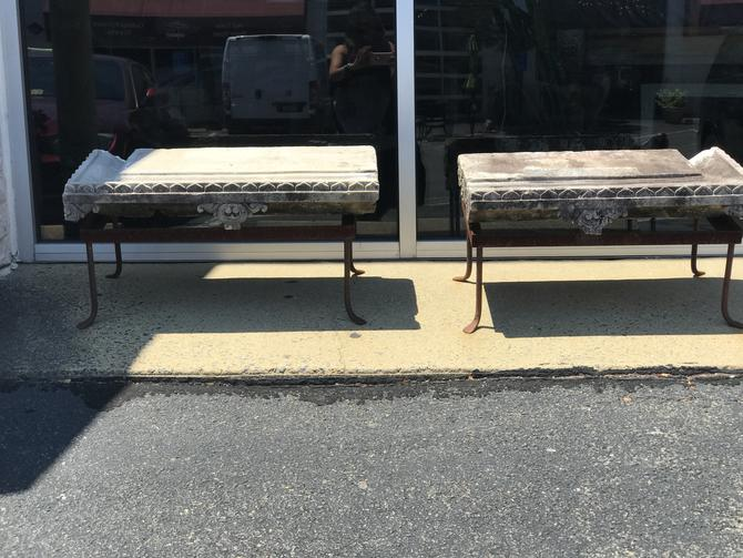 Pair of Early stone pediment garden benches.