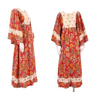 70s Batik cotton prairie maxi dress L  / vintage 1970s red woodstock era angel sleeve peasant dress large by ritualvintage