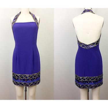 Vintage 90s Purple BEADED Body Con Halter Party Mini Dress TOOTSIES S by FlashbackATX