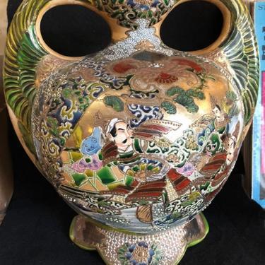 Satsuma and Moriage Double Handle Amphora Style Export Vase RareForm
