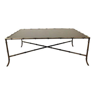 Coffee Table Maison Bagues Style Faux Bamboo Iron Glass Top Coffee Table by AnnexMarketplace