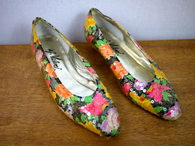 Floral Sequined Flats by citybone