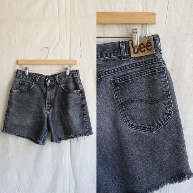 Vintage 80s Distressed Lee Cut Off Shorts/ 1980s Black Grey Denim Shorts/ Mens size 32 by bottleofbread