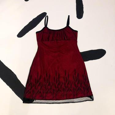 90s Black and Red Mesh Overlay Slip Dress / Tank Dress / Goth / Sheer / Net / Mall Goth / Cyber / Rave / Gathered Bust / Medium / 00s / y2k by badatpettingcats
