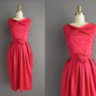 vintage 1950s | Gorgeous Fuchsia Pink Satin Cocktail Party Dress | XS | 50s dress by simplicityisbliss