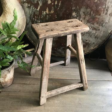 19th C Rustic Wood Stool, Amazing Patina, Dovetailed, Primitive Rustic Farmhouse by JansVintageStuff