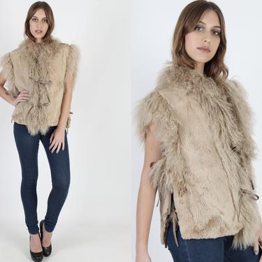 Real Mongolian Lamb Fur Vest Adjustable Side Ties Vintage 80s Sheared Rabbit Fur Tibetan Vest Curly Shaggy Beige Vest With Pockets by americanarchive