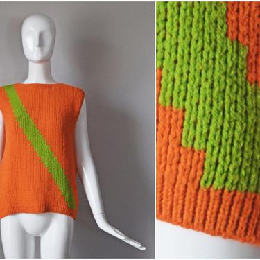 vtg 60s sweater orange green colorblock stripe knit sleeveless sweater top   sweater vest 1960s   colorful Halloween fall unisex top shirt by PinkhamRoadRetro