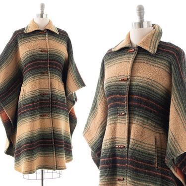 Vintage 1970s 1980s Cape   70s 80s Striped Wool Boho Retro Winter Poncho Coat (medium/large/x-large) by BirthdayLifeVintage