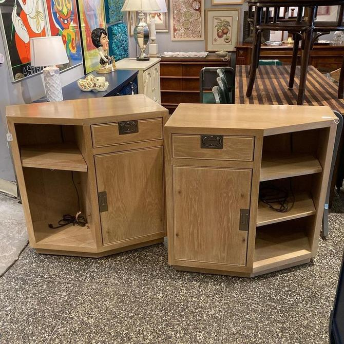 """Two Henredon campaign style bedside cabinets. So much storage. 32"""" x 18"""" x 34.5"""""""