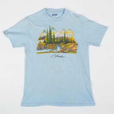 80s Colorado Alpine Graphic T Shirt - Men's Small, Women's Medium   Vintage Faded Blue Tourist Tee by FlyingAppleVintage