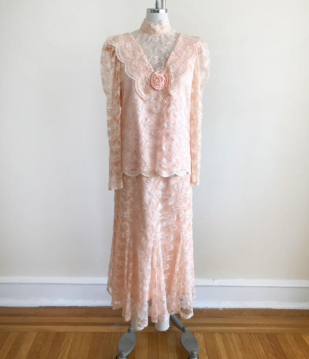 Peachy Pink Lace Matching Blouse and Skirt Set - 1980s by LogansClothing