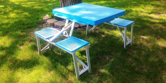 Blue Folding Picnic/Camping Table with Benches and a Carry Handle by RedsRustyRelics
