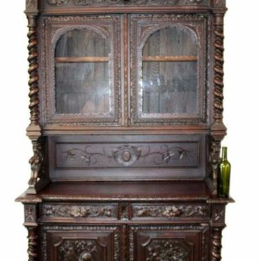 Antique Sideboard / Server, French Louis XIII carved oak buffet, 19th c ( 1800s